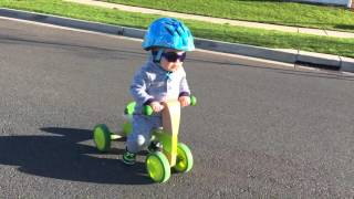 1 year old baby riding new bike