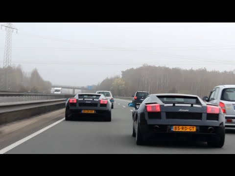2x Lamborghini Gallardo Racing on Autobahn!! - 1080p HD