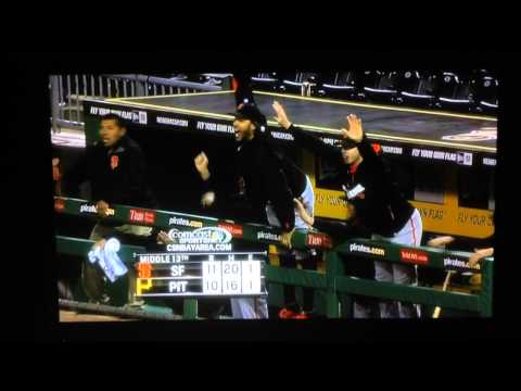 San Francisco Giants - Michael Morse almost falls over railing....(Giants vs. Pirates)