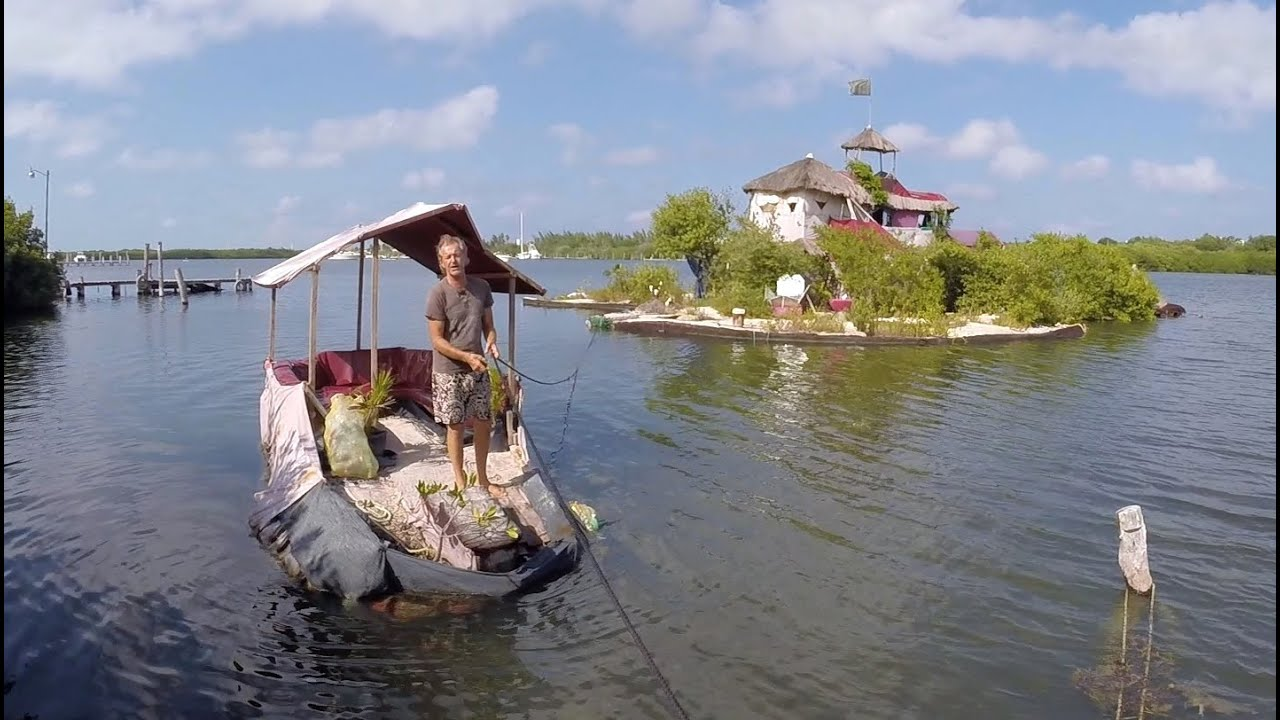 The Plastic Bottle Floating Island - Richart Sowa House Tour - YouTube
