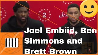 Brett Brown, Ben Simmons and Joel Embiid  Sixers vs Cavs | 13/03/19