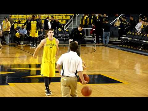 Stu Douglass shooting around before Michigan's Denior day