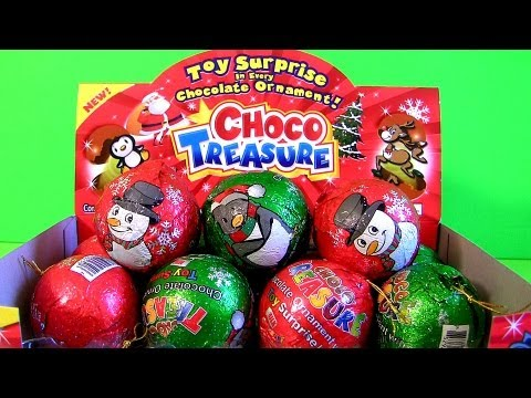 Choco Treasure Surprise Eggs Christmas Ornaments Chocolate 2013 Snowman Chilly Unwrapping toys