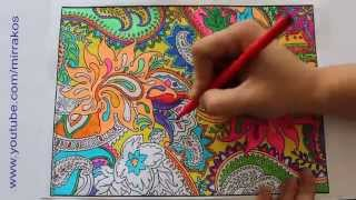 Speed art, painting, drawing, time lapse complicated colouring for adult, Zentangle