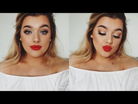 RED LIP/GOLD EYES Prom Make Up Tutorial!   Rachel Leary