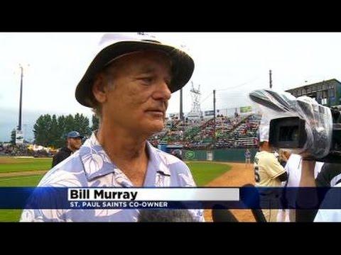 Bill Murray Greets St. Paul Saints Fans At Stadium Entrance
