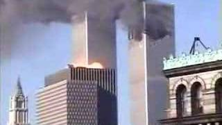Clear shot of plane hitting tower two and tower in goes up...