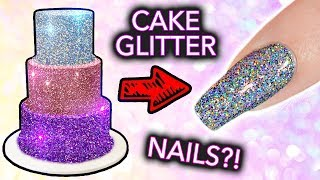 "Putting CAKE GLITTER on NAILS? (+ ""edible"" Diamond Cappuccino EXPOSED)"