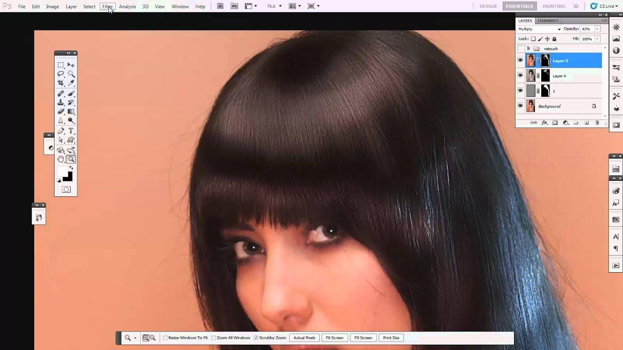 Гладкость волос в фотошопе