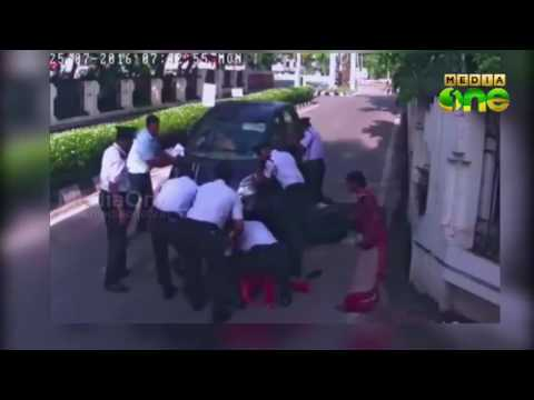 Narrow escape from accident; CCTV visuals