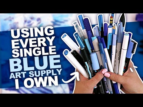 SO MUCH BLUE! | Drawing Something Using Every BLUE PEN, PENCIL, MARKER, WATERCOLOR, ETC I Own.