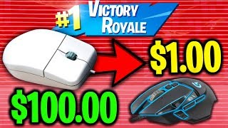 USING $1 MOUSE VS $100 MOUSE ON FORTNITE!
