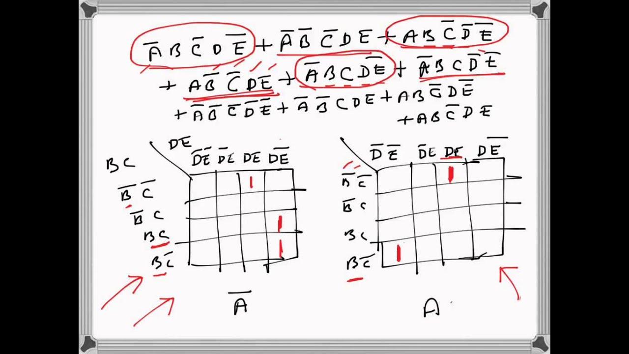 Digital Electronics 5 Variable K Map Problem Example