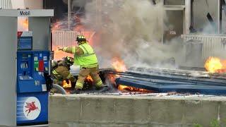 Iron Mountain, MI Gas Station On Fire, Structure Falls On Fireman!   Jason Asselin