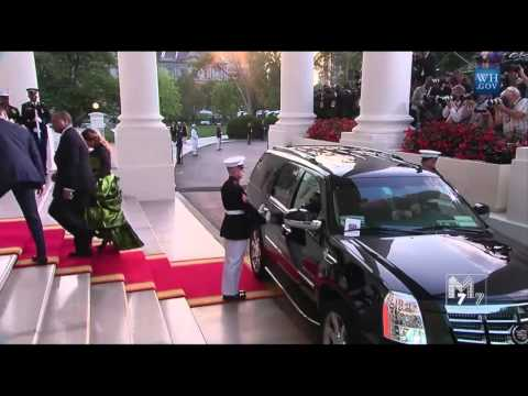 Swaziland King Mswati III and spouse arrive at the White House Diner