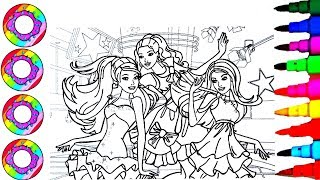 Coloring Drawings Disney's Barbie at the Dance Floor on their Rainbow Sparkle Dress Coloring Pages