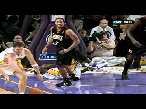 12 31 2006   76ers vs  Lakers   Kwame Severely Sprains Ankle