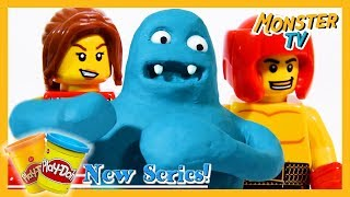 Play Doh Monsters vs LEGO Boxers! | Play Doh Stop Motion Show | By Monster TV