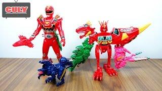 Siêu nhân đỏ chiến đội điện long robot thú điện khủng long power ranger red and megazord toy for kid