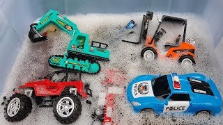 Learn Car Name With Car Toys for Children Clean Up Construction Vehicle for Kids
