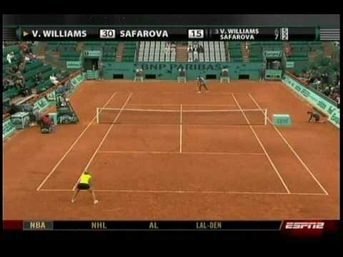 Venus Williams VS Lucie Safarova 4/10- French Open 2009- 2nd Round Video