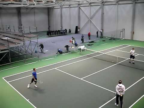 Dan Evans and Ross Hutchins practicing at Davis Cup in Lithuania