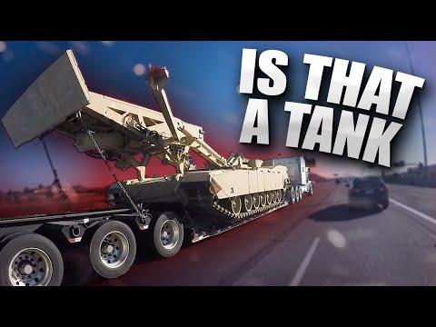 Biker Sees War Tank on the Road!