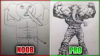 PRO REDRAWS NOOB'S DRAWING - Drawing with my Best Friend Art Challenge