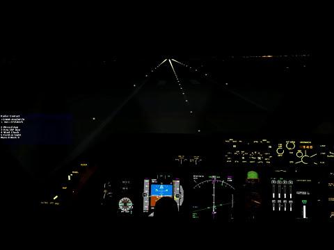 PMDG FSX 747X EHAM Night Landing + Fs2Crew Voice Commander