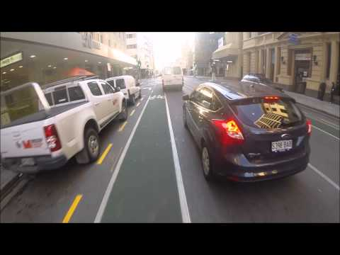 Pirie Street Bike Lane offers no protection