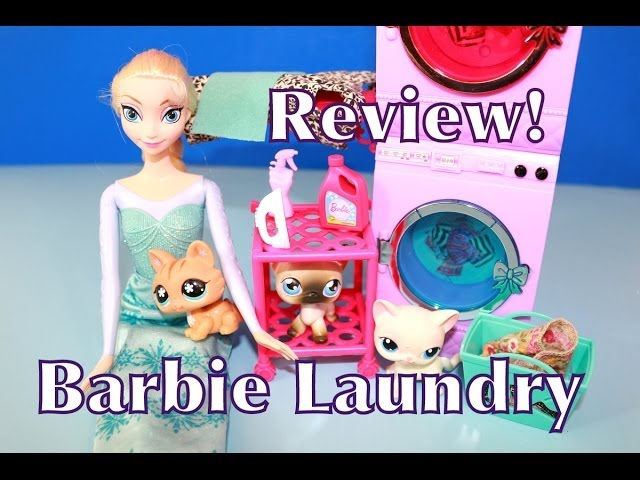 Barbie Glam Laundry Washer & Dryer Washing Machine Toy Review w/ Disney Frozen Elsa AllToyCollector