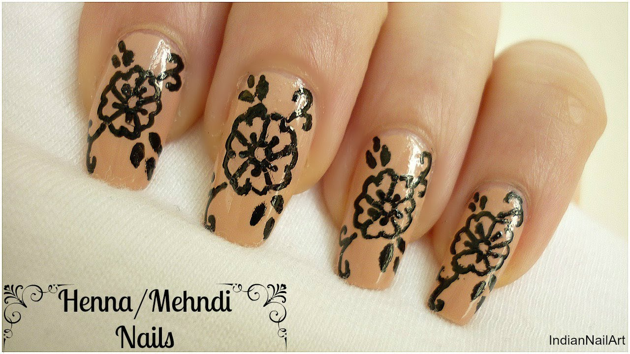 Mehndi Designs For Nails : Henna nail art design indiannailart youtube