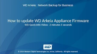 WD Arkeia: How to Update WD Arkeia Appliance Firmware