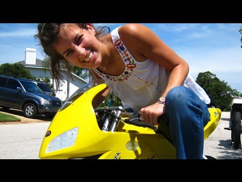 Hot Chick On Dirt Bike (6.6.09 - Day 37) Video