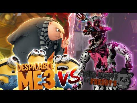 Minecraft DESPICABLE 3 MINIONS VS FNAF SISTER LOCATION!! - FUNTIME FOXY KILLS ALL THE MINIONS!!