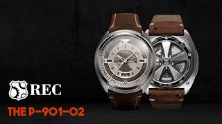 REC Porsche Automatic Brown Leather Strap White Dial Product code: 901-02