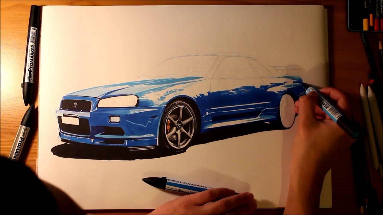 Nissan Skyline Gtr R34 Speed Drawing By Roman Miah Youtube