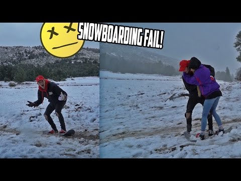HER FIRST TIME SNOWBOARDING! *FAIL*