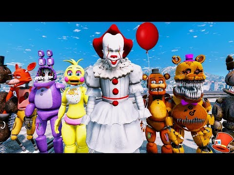 IT PENNYWISE CLOWN MOD vs THE ANIMATRONICS! (GTA 5 Mods For Kids FNAF RedHatter)