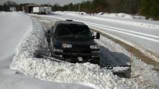 Snow Plowing Darth Dually with Snowdogg V Plow Pushing Wet Snow
