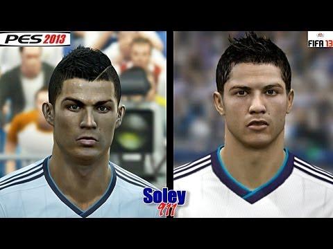 FIFA 13 vs PES 2013 Barcelona & Real Madrid faces comparison !!