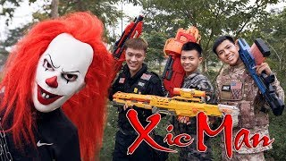 GUGU Nerf War : Police Patrol CID Dragon Nerf Guns Fight Criminal Group XICMAN Housekeeper