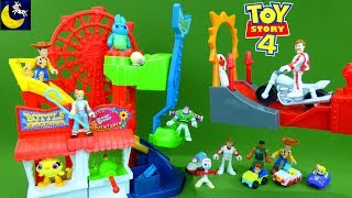 Toy Story 4 Toys Fisher-Price Imaginext Carnival Motorcycle Play Set Buzz Lightyear Forky Toys