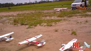 FMS Sky Trainer 182 Maiden Flight with 2 more 182s Flying Together 7-16-2011
