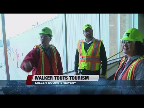 Walker touts Wis. tourism at MillerCoors