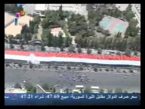 Syria Raising the Flag   in the Syrian Arab Republic Damascus