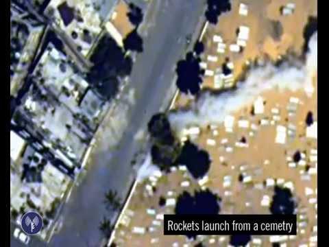 Hamas Terrorists Fire a Rocket from a Graveyard