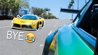 La Ferrari DESTROYS Cocky GTR Owner... LOL
