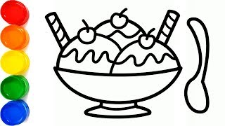 Drawing an ice cream bowl with waffle cone and coloring for kids toddlers | Sunny Colours ☆