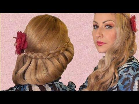 Semirecogido Romantico  peinado facil para san valentin. fiesta y toda ocacion